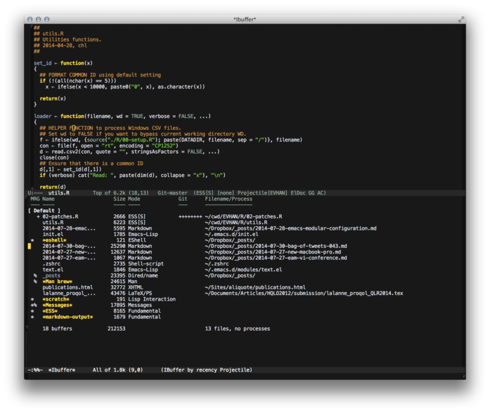 Emacs with Gruber theme